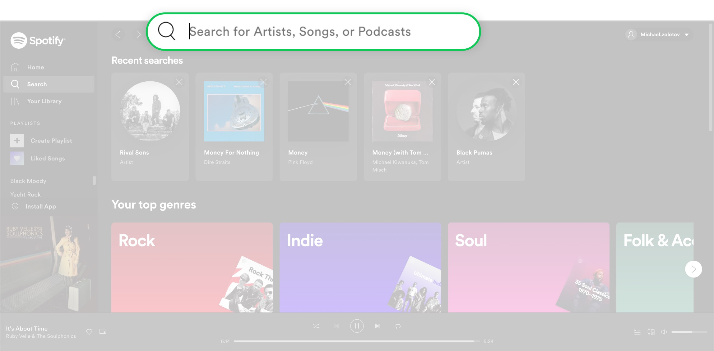 The search engine on Spotify