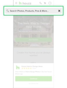 The search engine in Houzz